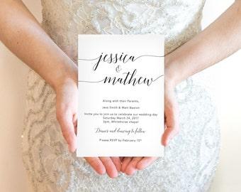 Modern Calligraphy Wedding Invitation Template / Printable Invite / Minimal Wedding Invite / Simple Classic Wedding Invitation PDF