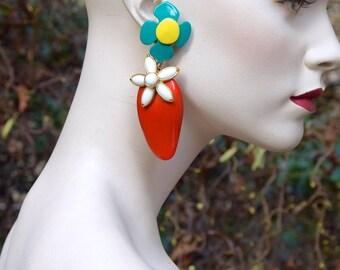 YVES SAINT LAURENT 1998 Strawberry and Flower Earrings