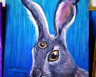 bunny painting , original  oil painting , third eye art , small oil painting , miniature painting ,