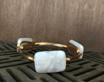 Light Grey Quartz Bangle   Bangle   Bracelet   Bangle Bracelet   Bourbon and Bowties Inspired