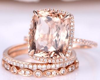 12x10mm Morganite Engagement Ring Set Art Deco Wedding Band Diamond Eternity Band Morganite Bridal Set 14K Rose Gold