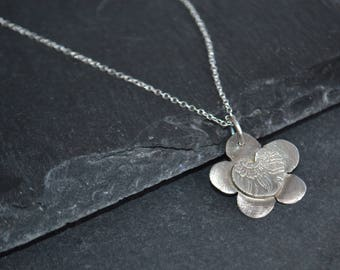 Mothers day, Handmade silver flower and heart necklace, fine silver flower pendant, bridesmaids gift