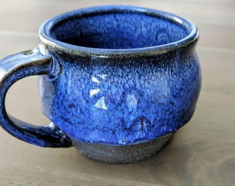 Blue Ceramic Mug, Stoneware Coffee Mug, Handmade Blue Mug, Rustic Pottery Mug, Blue Gloss Coffee Cup