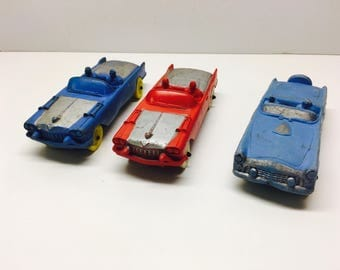 Vintage Rubber Toys, 3 x Red, Blue and Silver Convertible Cars, Auburn Rubber Co - USA