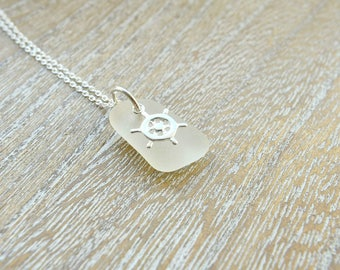 White Sea Glass Necklace, Maritime Jewelry, Sterling Silver Sea Glass Jewelry, White Jewelry,  Gift For Wife,  Gift For Her