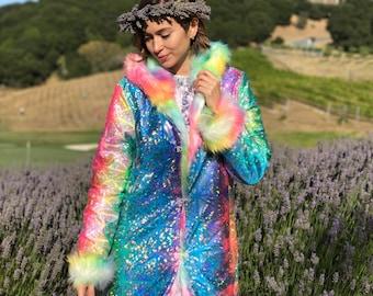 Glossy Rainbow Festival Fur Coat Faux Boho Reversible Playa Wear Man Clothing Women Holographic Jacket Mens