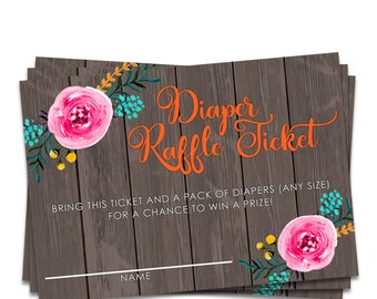 Diaper Raffle Cards, Diaper Raffle Insert, Diaper Raffle Printable, Diaper Raffle Baby Shower, Printable Raffle Ticket, Instant Download