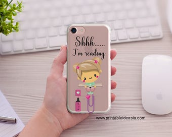 iPhone Case, Kawaii, Shhh.... I'm Reading,  Art Book Lover Clear iPhoneCase, 5/5s/SE, iPhone 6/6s, iPhone 6Plus/6sPlus, 7/7Plus