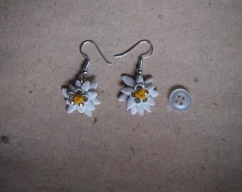 Earrings Edelweiss flower with glitter, Oktoberfest