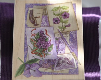 Purple Collage #90297 Rubber Stamp  By Stamps Happen, Inc.  Vintage