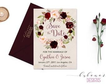 Burgundy Wedding Save the Date Invitation Marsala Floral Wreath Printable Boho Save the Date Fall Wedding Invite Autumn Invite - WS015
