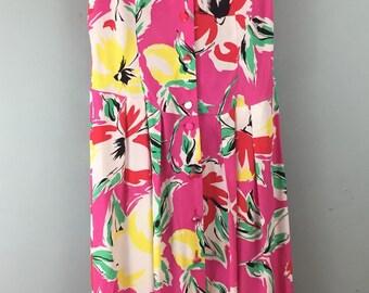 Richards VINTAGE 1980s bright pink big floral print tea dress uk 10/12