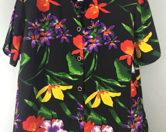 Vintage 1980s fabulous vibrant black tropical print top UK 14/16