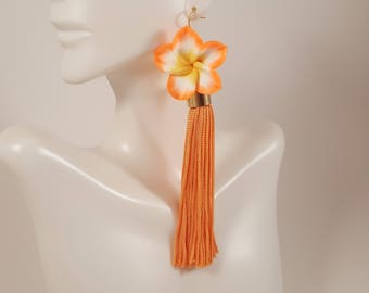 Tassel earrings, orange tassel earrings, orange earrings, flower earrings, gift for girlfriend, gift for daughter, gift for mom, prom