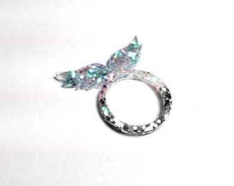 Resin - Angel Wings ring - size M