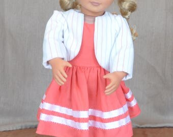 Dress and jacket set for 18' dolls including American Girl