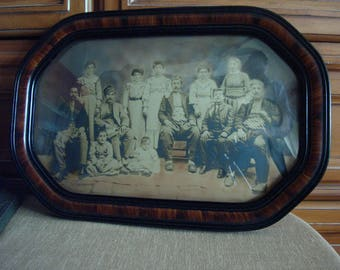 Armenian Family Sepia Tone Photograph 1890's Original Tiger Wood Frame and Bubble Glass