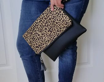 Leopard Clutch Bag, Clutch Purse, Faux Leather Clutch, Large Clutch, Leather Clutch, Wristlet Clutch, Black Clutch Purse, Birthday Gift her