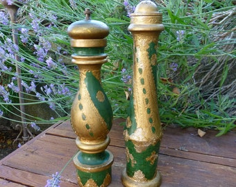 Vintage Tall Florentine Green Gold Salt Shaker Pepper Grinder - Made in Italy