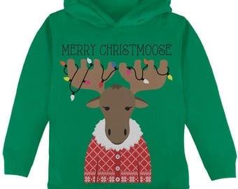 Christmas Merry ChristMoose Moose Toddler Hoodie