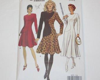 Vogue 8479 UNCUT Vintage 1990s Fit and Flare Dress Sizes 14 16 18 Color Block