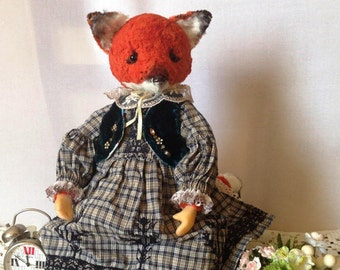 Fox  Plush fox Teddy fox Stuffed bear Plush bear  Collection teddy bear Stuffed fox Collectible teddy fox toy