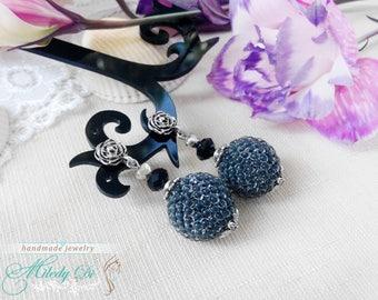 Rustic earrings, Black earrings, Stud earrings, Ethnic jewelry, Minimalist earrings, Gift ideas for mom, Gift boho earrings, Ball earrings