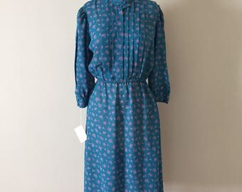 micro floral day dress | sky blue dress | 1980s semi sheer pleated dress
