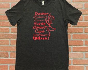 Santa's Reindeer T-Shirt, Reindeer Names Shirt, Christmas Shirt, Holiday T-Shirt, Reindeer Silhouette Shirt, Reindeer T-Shirt