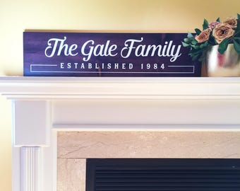 Custom family name sign, outdoor painted wooden sign, name sign family established home decor sign, gifts for family, personalized sign 9x36
