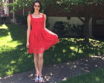 Red lace  square  neck sleeveless dress -- EC 128