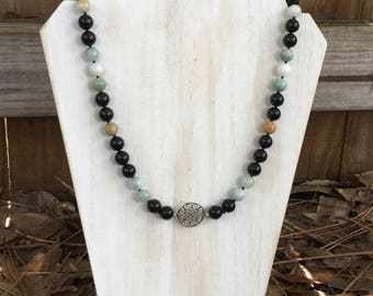 Burma Jade and Onyx Necklace