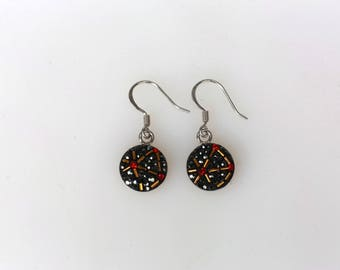 Round Dangle Earrings, Swarovsky Crystal, Beads Bars, Sterling Silver Ear Wire, Jet Hema(Black) Color, Korean Unique Style