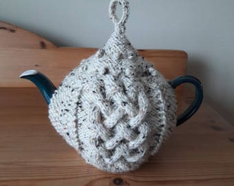 Knitted Wool Tea Cosy, Natural Fleck Aran Tea Cozy, Hand Knit Tea Cosy Fits 6 to 8 cup Teapot, Gift for Gran, Tea Lovers Gift, Irish