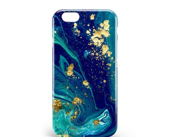 Blue Gold marble case. PVC. iPhone 4, 4s, 5, 5s, SE, 5 c, 6, 6, 6 Plus 6s Plus, 7 and 7 more. Samsung S3, S4, S5, S6, S6 Edge, S7, S7 Edge