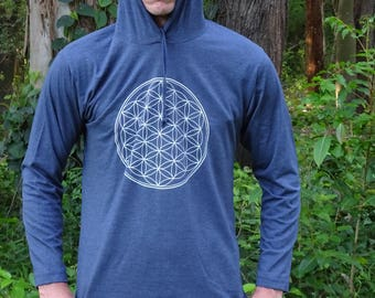 Flower of Life Sacred Geometry Hoodies - Many Colours, Festival Clothing, Rave, Flow Arts, Spiritual, Psy Trance, Doof, Tribal, Meditation