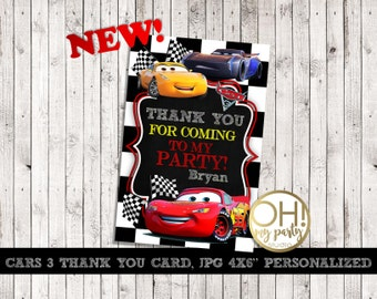 Disney Cars 3 Thank You Card Personalized, Cars 3, cars 3 birthday, cars 3 party,cars thank you card,cars 3 party supplies, cars thank you