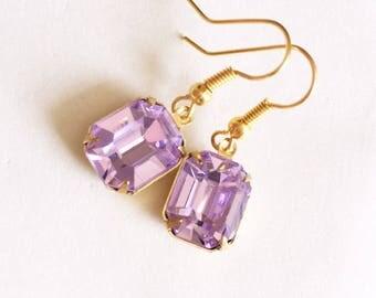 Purple Crystal Earrings, Mauve Earrings, Crystal earrings, Purple Earrings, Crystal Jewelry, Lilac Earrings, Mauve Jewelry, Lilac jewelry