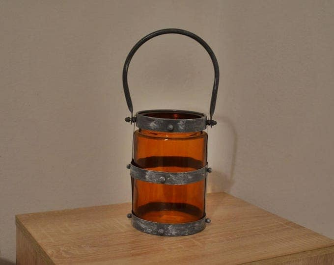 10%OFF Rustic lantern with orange color glass / lantern / lanterns / rustic lanterns / rustic home decor