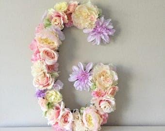 Nursery Letter, Floral Letter, Flower Letter, Baby Initial, Baby Name Gift, Baby Name Art, Baby Girl Nursery Decor, Nursery Wall Decor