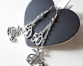 Fifty Shades 50 shades of Grey helicopter Christian Grey Anastasia Steele magical geek gift earrings