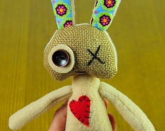 Voodoo bunny Easter bunny Rabbits FREE SHIPPING Valentine Heart Toys Plush Prim Cute Art toy Artwork Toys For her Gift OOAK  Booo