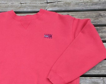 Vintage 90's Tommy Hilfiger Jeans Crew-neck red XL Made in Canada