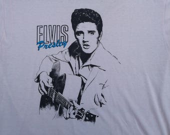 Vintage 80's Elvis Presley King of Rock 'n Roll Paper Butter Thin white cream t-shirt Made in USA Sized M