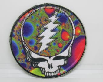 Grateful Dead Stealy Patch ~Psychedelic Steal Your Face Lightning Bolt Patch ~ Iron on Patch