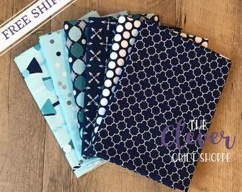 6 PCs Fat Quarter Bundle - Various Navy Prints by Riley Blake Designs (100% Cotton Quilting Fabric)