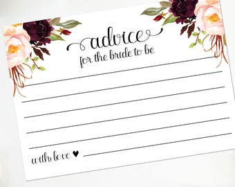 Advice for Bride Cards | Watercolor Floral Rustic Bridal Shower Advice Cards | 4x6 and 5x7 | Bohemian Printable or Printed | F4BS