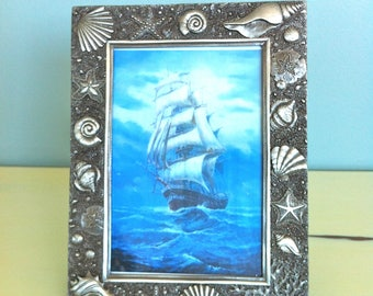 Pewter Sea Shell Picture Frame/Beach Style Picture Frame/Vintage Pewter Picture Frame/Beach Decor/Nautical Picture Frame/Sea Picture Frame