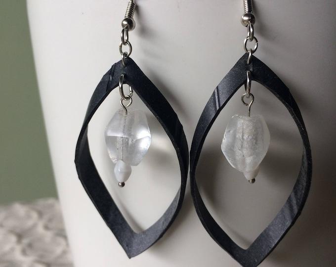 Black boho loop earrings, clear seaglass beads, rubber earring, bike inner tube earring, vegan leather, statement earring, upcycled rubber