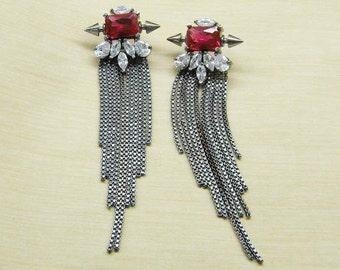 Gift For Her - Arrow Motif Asymmetrical Tassel Earrings - DH8joolry